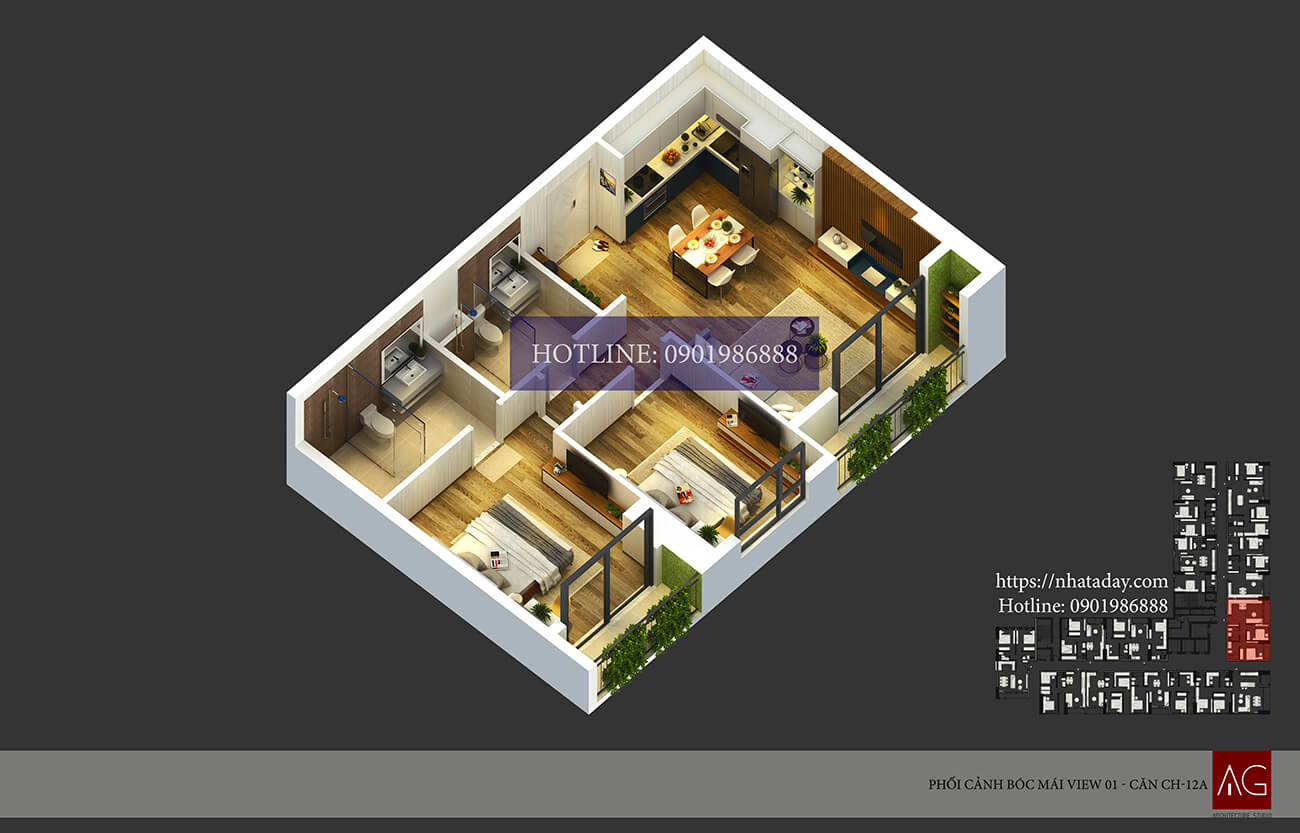 Thiết kế bóc mái căn hộ CH12 tòa A chung cư AnLand Nam Cường HH01 Complex Building