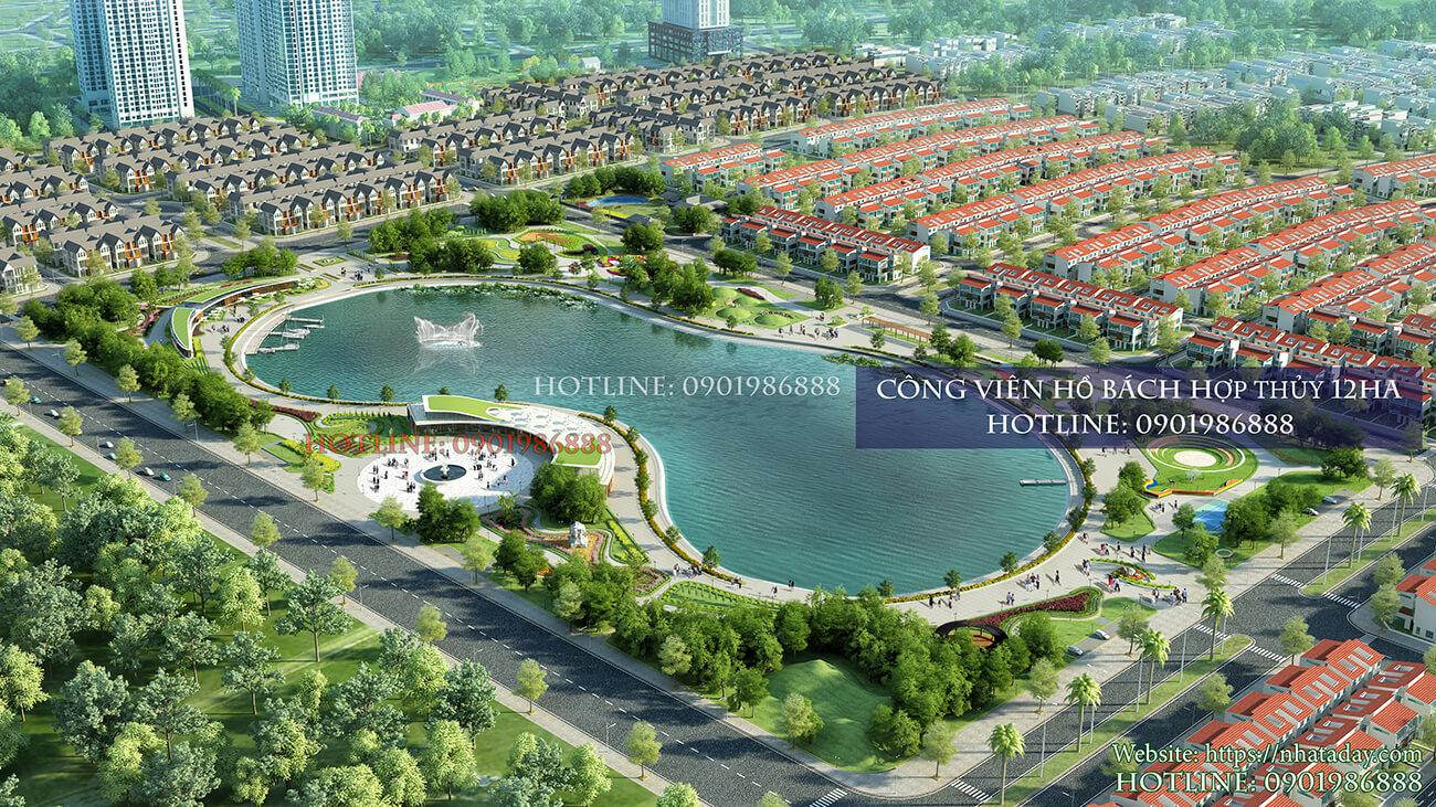 Công viên hồ điều hòa Bách Hợp Thủy rông 12 hecta 24 tiện ích tại khu đô thị Dương Nội A cạnh chung cư AnLand Nam Cường
